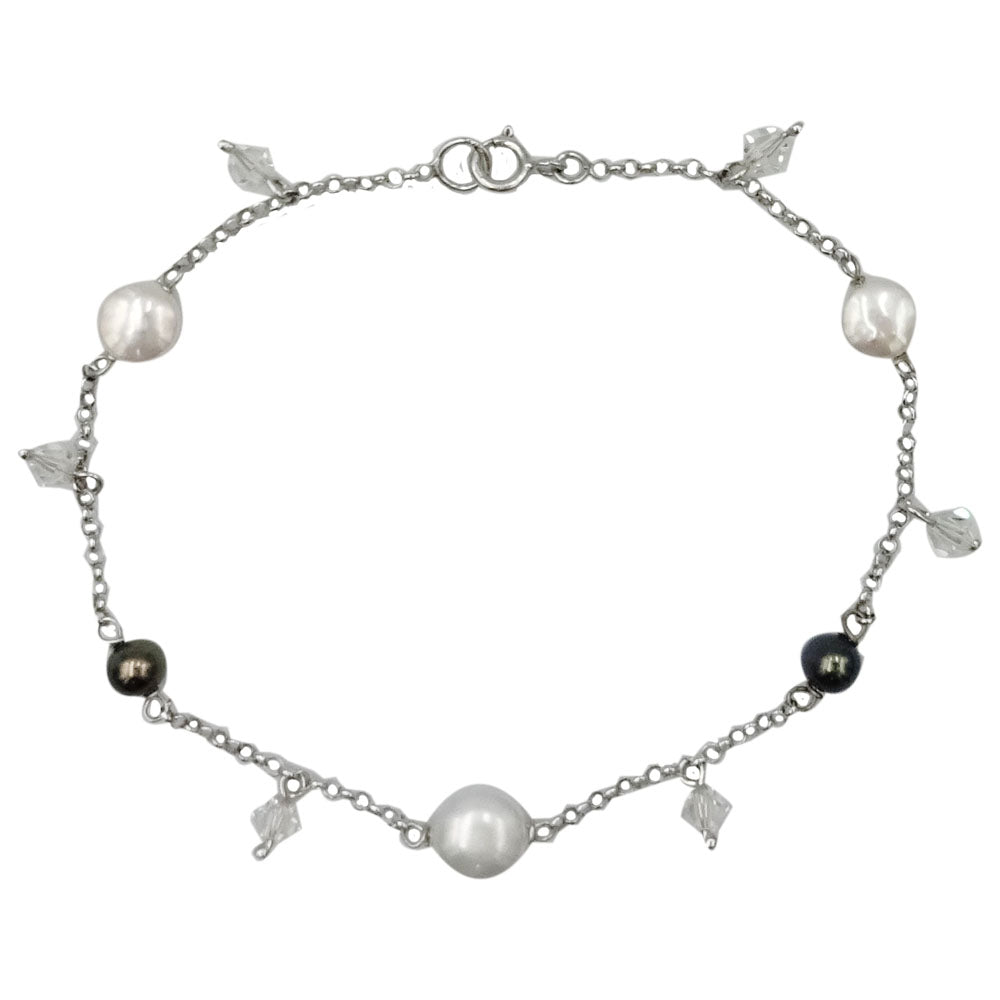 14ct White Gold Fresh Water Pearl & Crystal Unique Ladies Bracelet 7.5inch - Richard Miles Jewellers