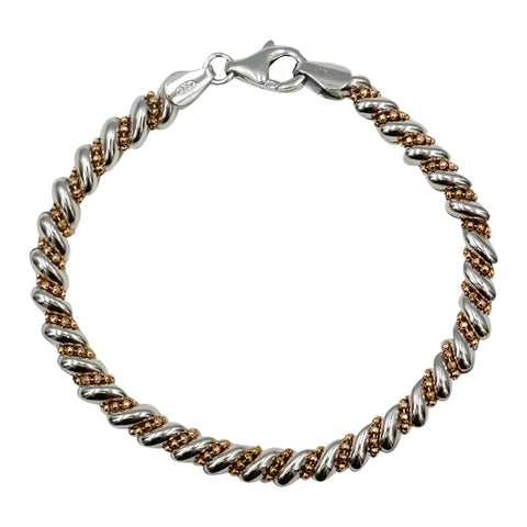 Real Effect Ladies Two Tone Silver Rose Gold Plated Bracelet 7inch 9.7g
