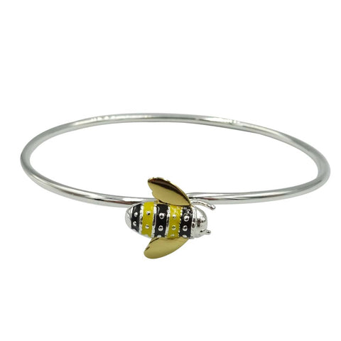 Sterling Silver Enamel Bee Bangle