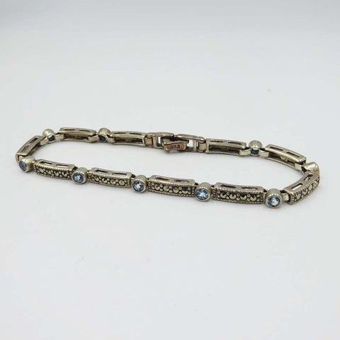 Silver Marcasite and Blue Topaz Bar Link Bracelet 7""