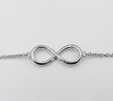 Real Effect Sterling Silver Fine Cubic Zirconia Infinity Sign Ladies Bracelet 7.5inch 2.9g