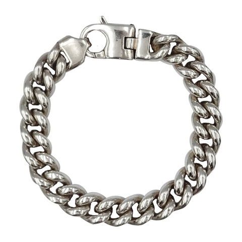 Sterling Silver 925 Stamped Curb Style Heavy Men's Bracelet 8.5inch 91g