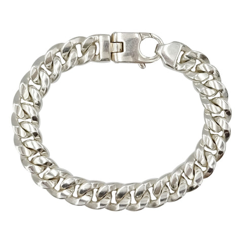 Sterling Silver 925 Stamped Curb Style Heavy Men's Bracelet 8inch 58g 10.8mm - Richard Miles Jewellers