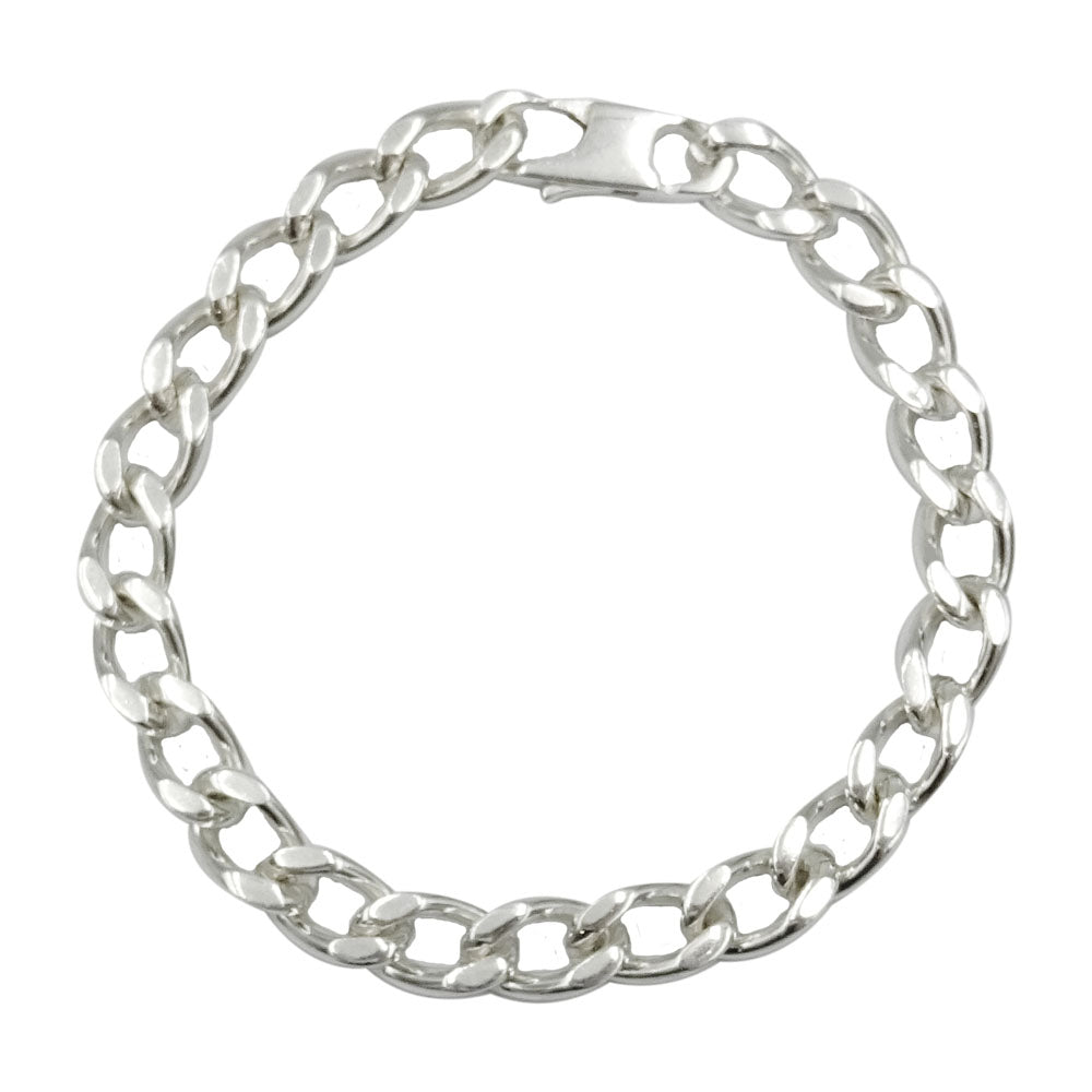 Sterling Silver 925 Stamped Mens Heavy Weight Curb Style Bracelet 30.7g 8.75inch - Richard Miles Jewellers