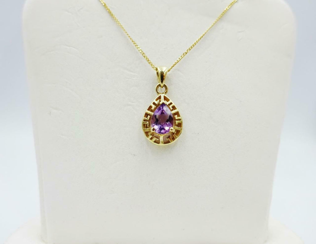 9ct Yellow Gold Pear Shaped Amethyst Detailed Mount Ladies Fancy Pendant 18.3mm - Richard Miles Jewellers