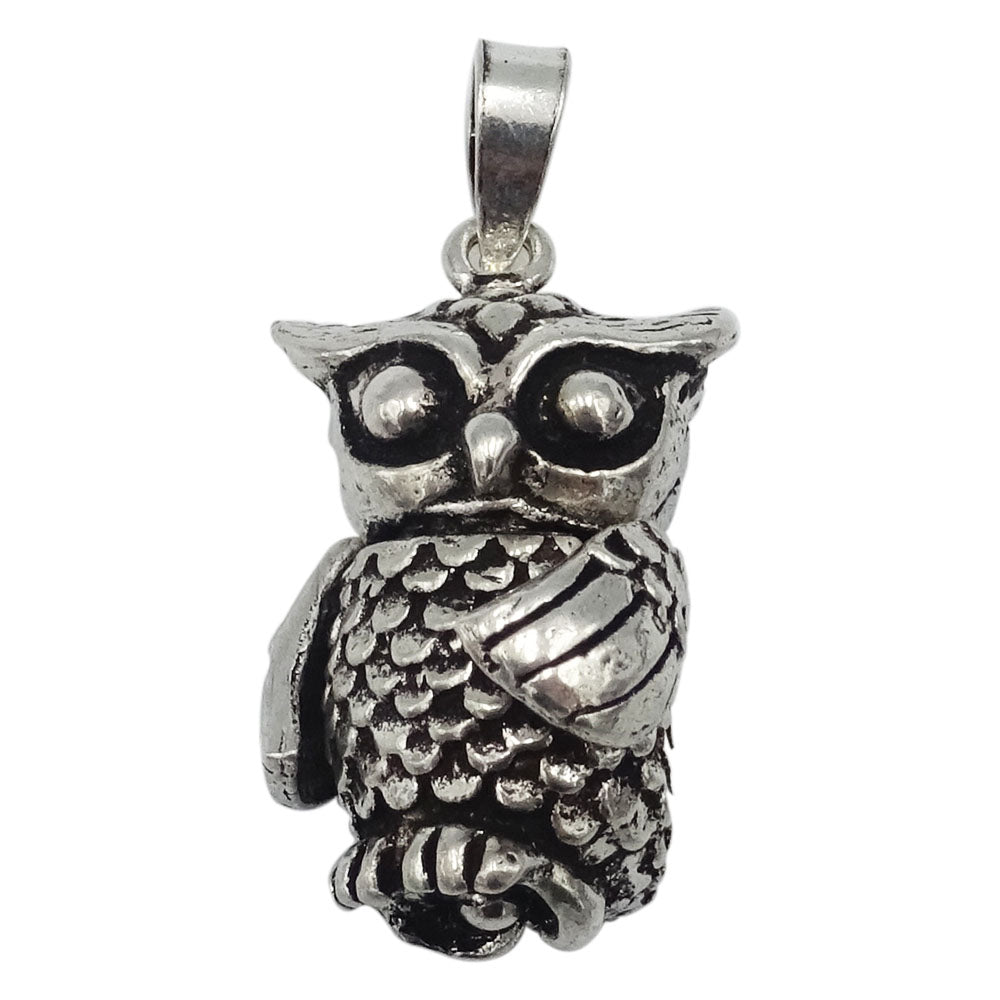 925 Sterling Silver Jointed Owl Pendant 5.9g - Richard Miles Jewellers
