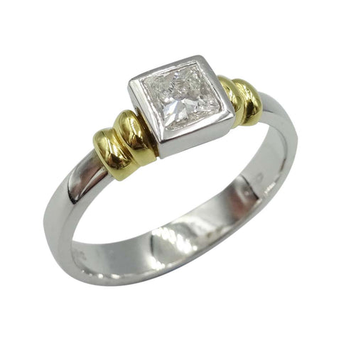 18ct White Gold Princess Cut Diamond Ring 0.33ct Size O
