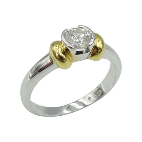 18ct White Gold Round Cut Diamond Ring Size M