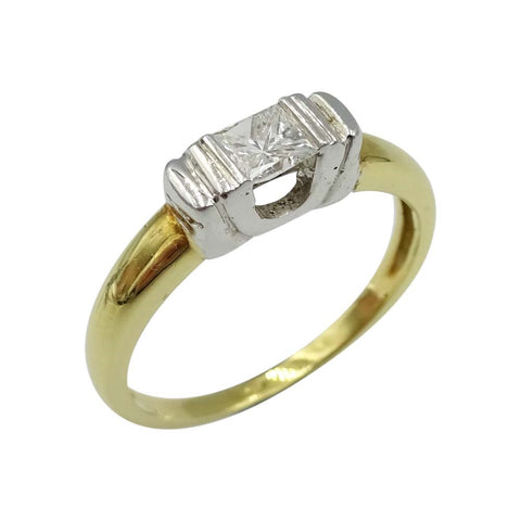 18ct Yellow Gold Square Cut Diamond Ring Size L