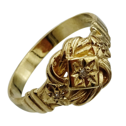 9ct Yellow Gold 375 Diamond Fancy Detailed Knot Ladies Ring Size N 2.2g