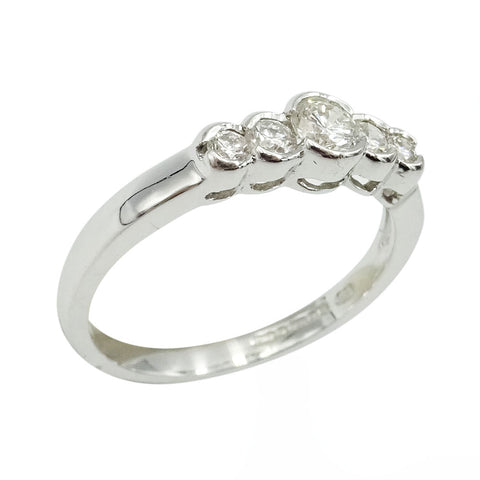 18ct White Gold 5 Stone Half Eternity Ring 0.45ct Size N 1/2 - Richard Miles Jewellers