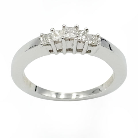 18ct White Gold 5 Stone Diamond Engagement Ring 0.25ct Size M1/2 - Richard Miles Jewellers