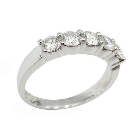 18ct White Gold Diamond Five Stone Half Eternity Ring 0.75ct - Richard Miles Jewellers