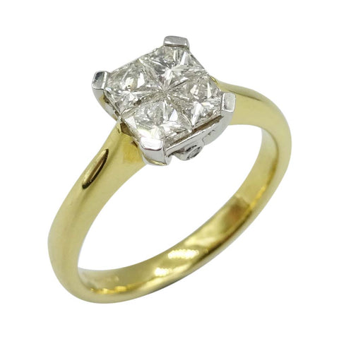 18ct Yellow Gold Square Cut Diamond Ring 0.75ct Size M 1/2