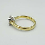 18ct Yellow Gold Square Cut Engagement Diamond Ring 0.75ct