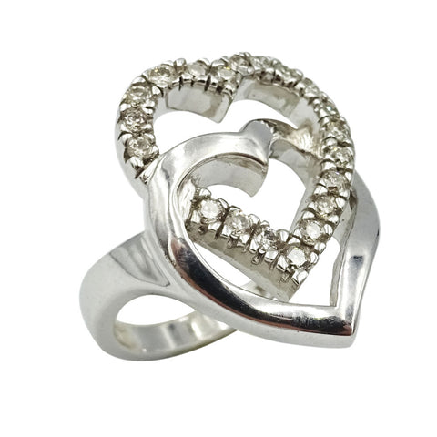 9ct White Gold Ladies Double Heart Diamond Ring Size M 0.50ct - Richard Miles Jewellers