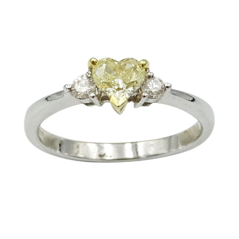 18ct White Gold Yellow Fancy Colour Heart Shaped Diamond Engagement Ring - Richard Miles Jewellers