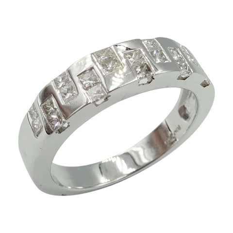 18ct White Gold Fancy Step Diamond Ring 0.49ct