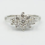9ct White Gold Diamond Cluster Engagement Ring 0.50ct Size L - Richard Miles Jewellers