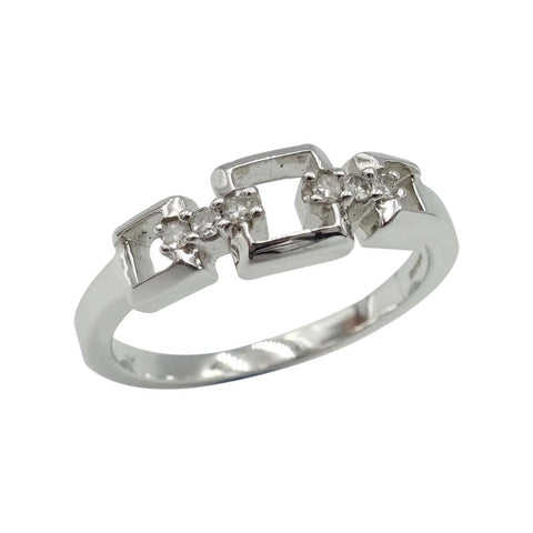 9ct White Gold Chain Link Shape Diamond Ring Size N