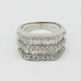14ct White Gold Diamond Baguette Cluster Ring Size M 1.52ct - Richard Miles Jewellers