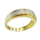 14ct Two Colour Gold Mens Diamond Ring Size U 0.38ct - Richard Miles Jewellers
