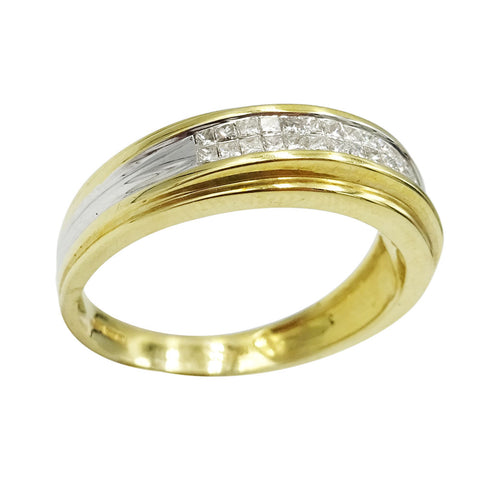 14ct Two Colour Gold Diamond Ring Size U 0.38ct - Richard Miles Jewellers