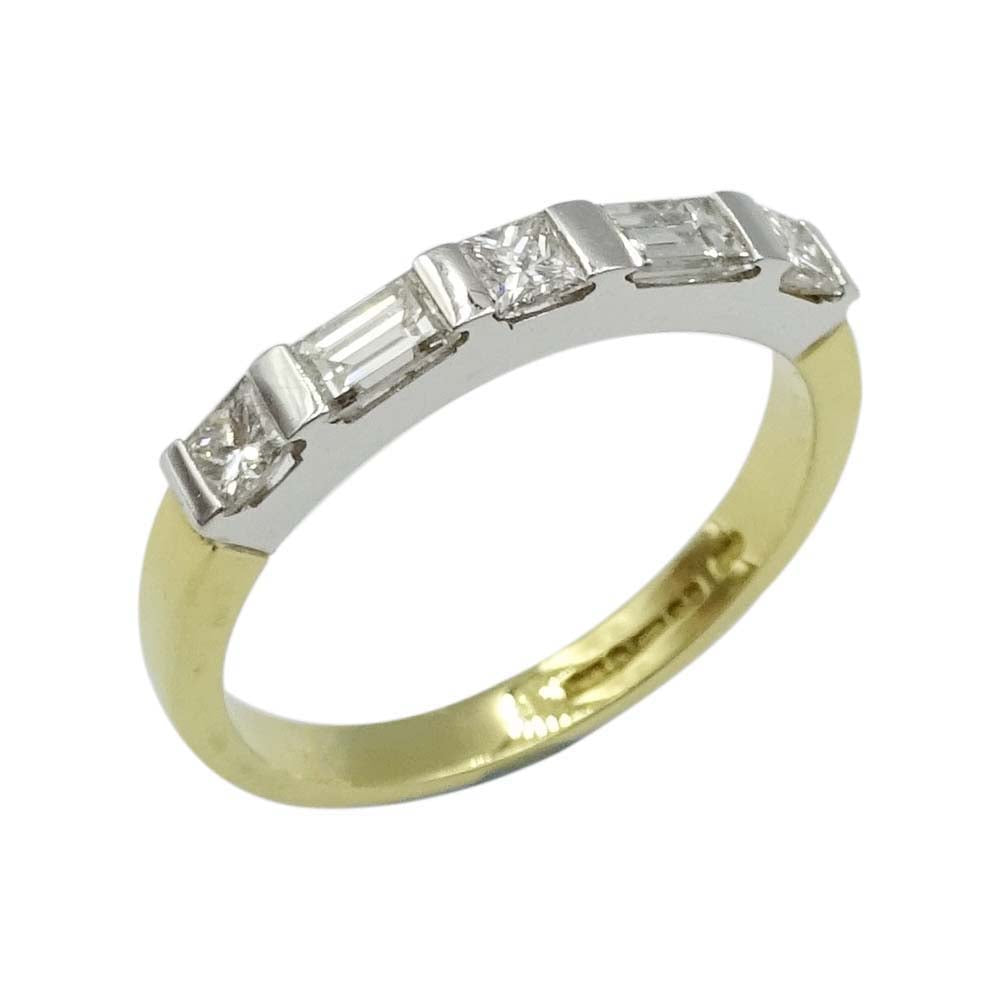 18ct Gold Princess Baguette Cut Diamond Ring 0.70ct Size O
