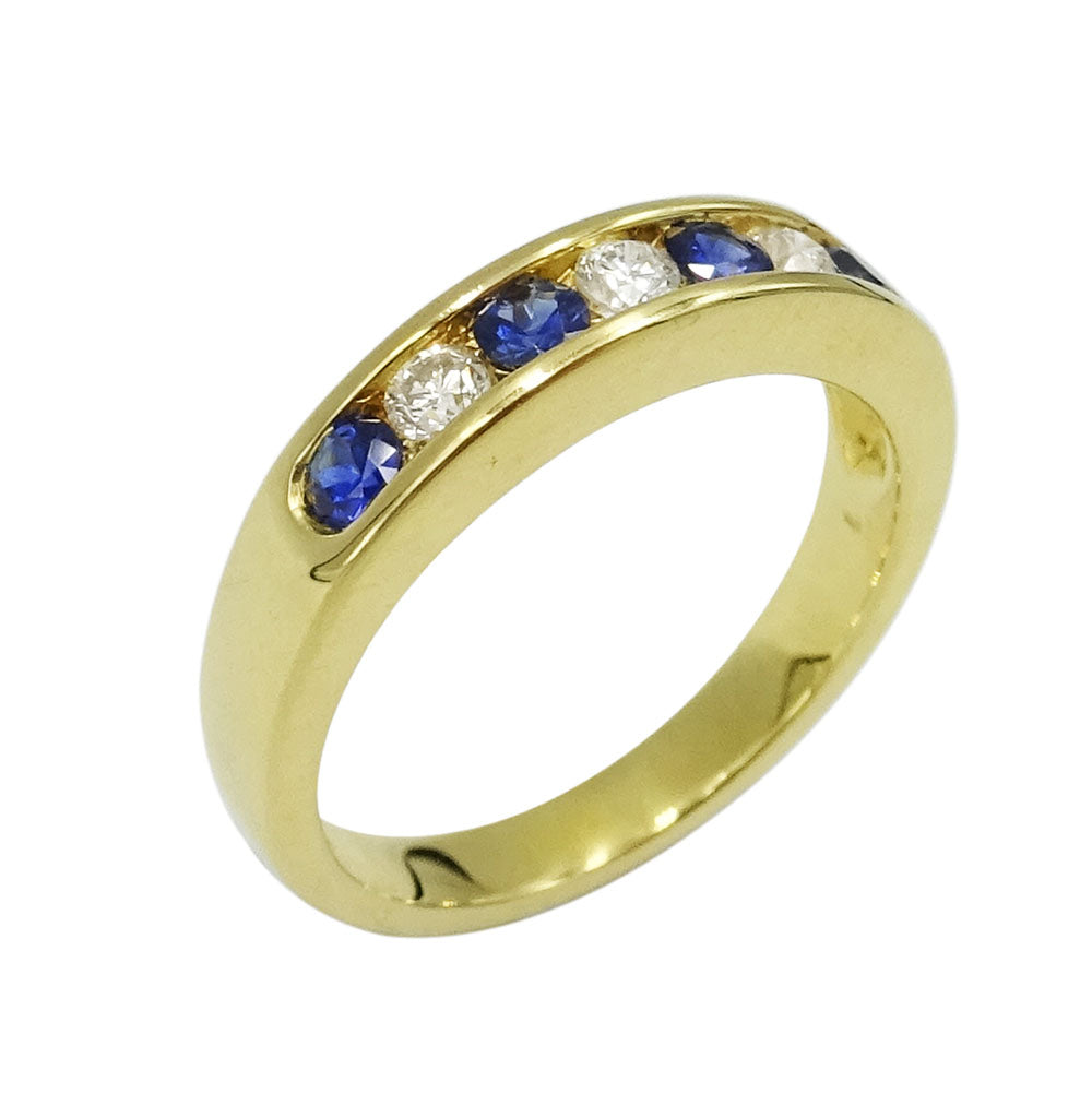 18ct Yellow Gold Sapphire & Diamond Half Eternity Ring Size J - Richard Miles Jewellers