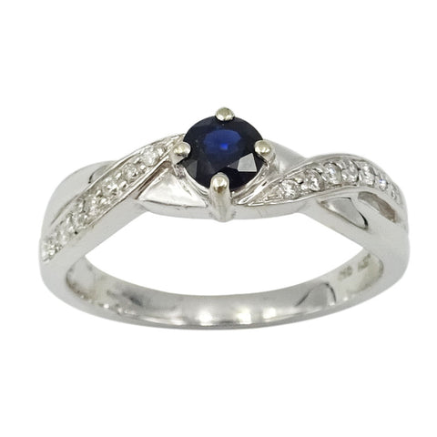 9ct White Gold Sapphire & Diamond Twisted Ring Size M - Richard Miles Jewellers