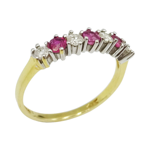 18ct Yellow Gold Ladies Ruby & Diamond Half Eternity Ring Size O - Richard Miles Jewellers