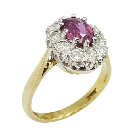 9ct 2 Colour Gold Ladies Diamond & Ruby Cluster Ring Size L - Richard Miles Jewellers