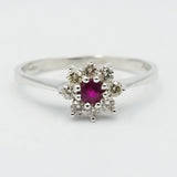 9ct White Gold Diamond & Ruby Cluster Ring M1/2 0.17ct - Richard Miles Jewellers