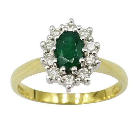 18ct Yellow Gold Ladies Emerald & Diamond Cluster Ring Size O 0.30ct - Richard Miles Jewellers