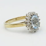 9ct Gold Aquamarine & Diamond Cluster Ring 1.5ct - Richard Miles Jewellers