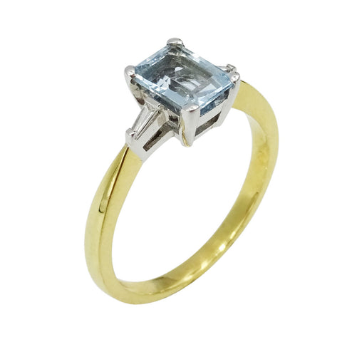 18ct Yellow Gold Aquamarine & Diamond Ladies Ring - Richard Miles Jewellers