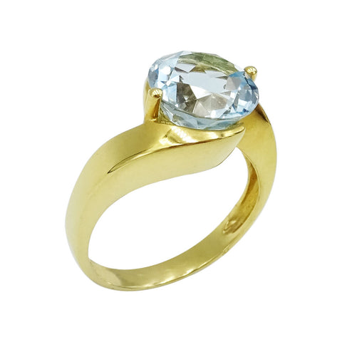 18ct Yellow Gold Ladies Blue Topaz & Cubic Zirconia Ring Size Q 7.4g - Richard Miles Jewellers