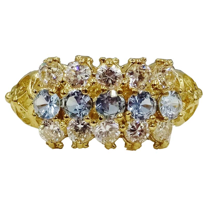 9ct Yellow Gold Blue & Clear CZ Detailed Ladies Cluster Ring Size Size Q 3.4g 9mm