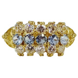 9ct Yellow Gold Blue & Clear CZ Detailed Ladies Cluster Ring Size Size Q 3.4g 9mm - Richard Miles Jewellers