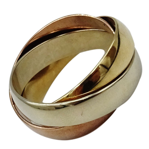9ct Yellow White Rose Gold 4mm Russian Style Wedding Band Size M 5.8g
