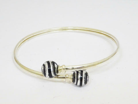Sterling Silver Clear Black Glitter Swirl Effect Bangle 7 inch 7.5g 1.73mm - Richard Miles Jewellers