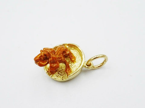 9ct Yellow Solid Gold Detailed Brown Dog In Basket Pendant Charm 3.3g 12mm - Richard Miles Jewellers