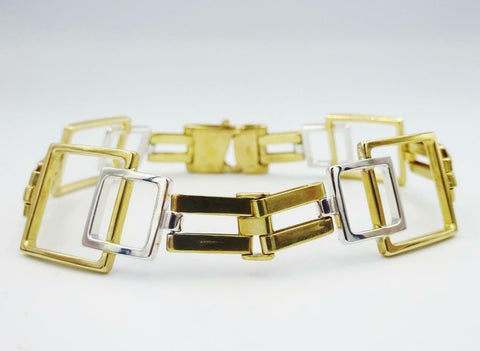 9ct Yellow White Gold Fancy Ladies Square Design Bracelet 7inch 13.9g