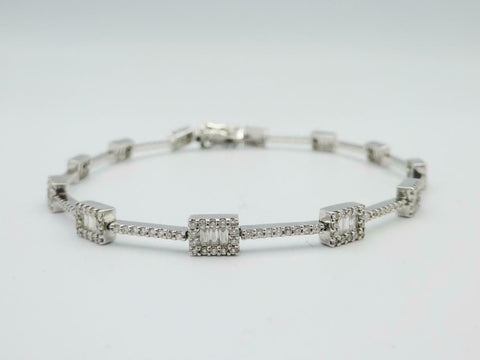 18ct White Gold Round Baguette 1.3ct Diamond Tennis Ladies Bracelet 7.5inch 9.6g - Richard Miles Jewellers