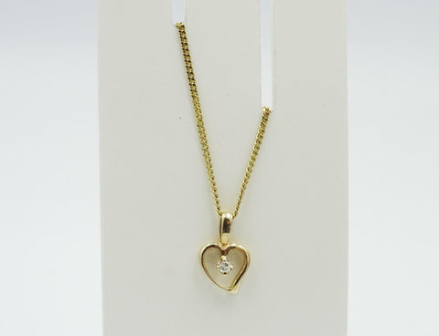 9ct Yellow Gold Sophisticated Look Open Heart 0.03ct Diamond Necklace 18inch 2g
