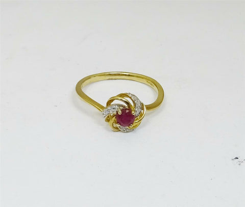 9ct Yellow Gold Ladies Cluster Ruby and Diamond Ring Size N 1.7g