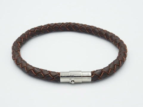 Brown Leather Stainless Steel Braided Mens Fashion Bracelet 12.6g 9.25 inch