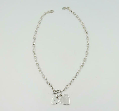 D For Diamond Kids Silver Double Heart T Bar Feature Necklace 14inch 10.5g