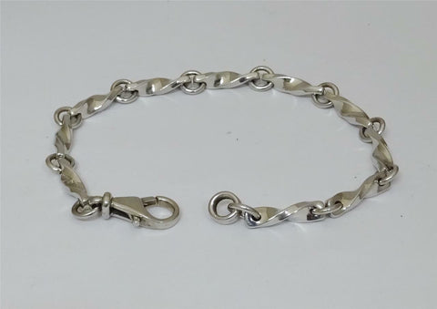 9ct White Gold Ladies Twisted Link Bracelet 7.5 inch 18.5g