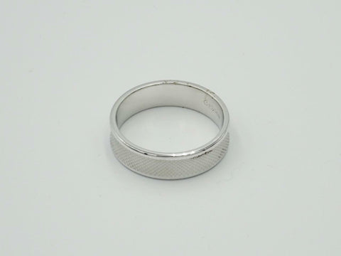 14ct White Gold 585 Patterned Curved Mens Wedding Ring 6mm Size U 6.9g - Richard Miles Jewellers
